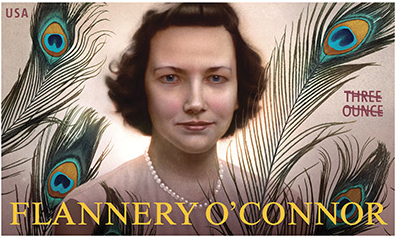 The U.S. Postal Service stamp honoring Flannery O'Connor.